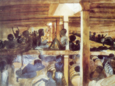 View of the Deck of the Slave Ship Alabanoz by Lieutenant Francis Meynell, 1846